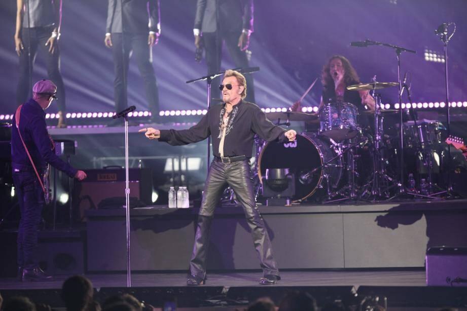 Johnny Hallyday au Nikaia lors de son dernier concert à Nice, le vendredi 2 octobre 2015.