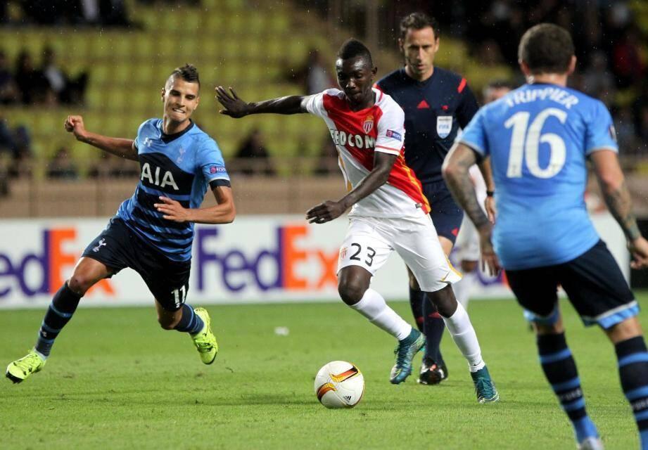 ©PHOTOPQR/NICE MATIN ; AS Monaco - Spurs Tottenham2eme journée de la phase de poules de la Ligue Europa - stade louis II de monaco à 19h -23 ADAMA TRAORE 2015/10/01. Europa soccer league : AS Monaco - Spurs Tottenham.