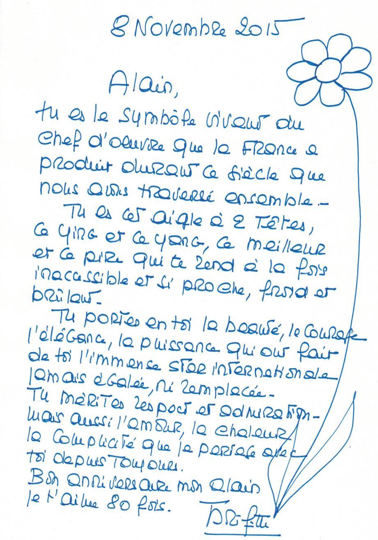 La chaleureuse lettre manuscrite dévoilée en exclusivité par Nice-Matin.