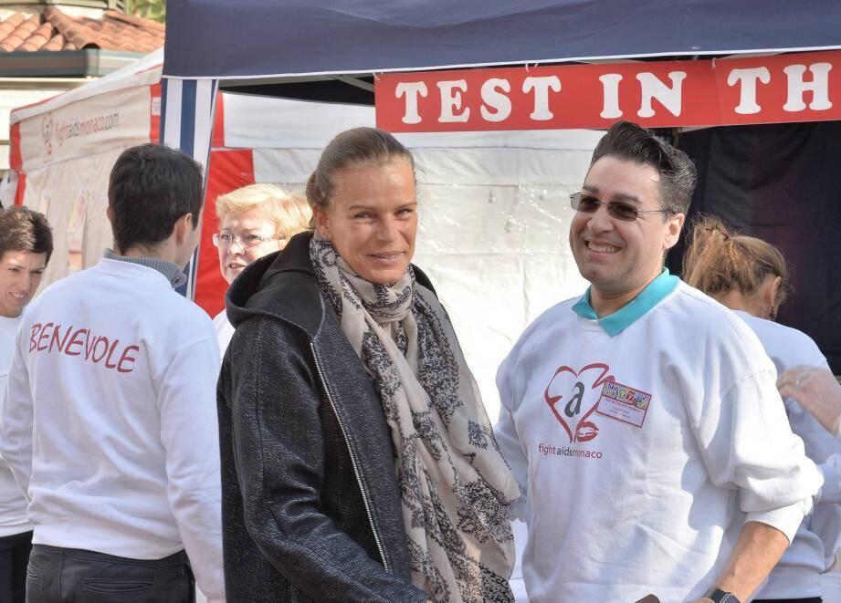 La princesse Stéphanie de Monaco, la présidente de l'association Fight Aids Monaco, lors de l'opération « Test in the City », ce mercredi