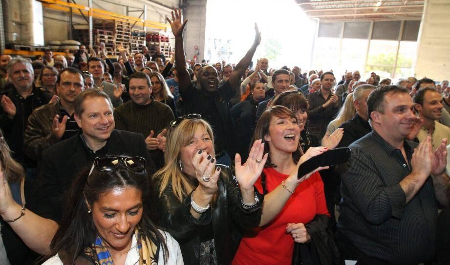 La joie des salariés le jour où leur offre de reprise  a été validée par le tribunal de commerce de Nice.