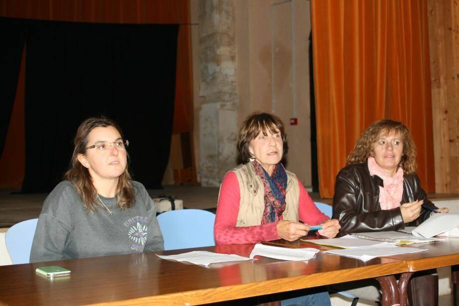 Sandra Giordanengo, Christiane Velayguet et Mireille Ciszewski.
