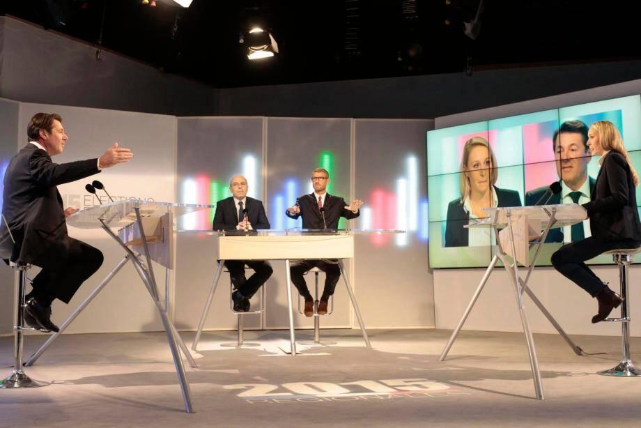 Le face-à-face Christian Estrosi Marion Maréchal-Le Pen sur le plateau de France 3 hier après-midi.