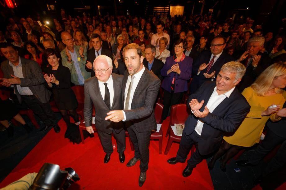 Michel Vauzelle en compagnie de Christophe Castaner pendant la campagne.