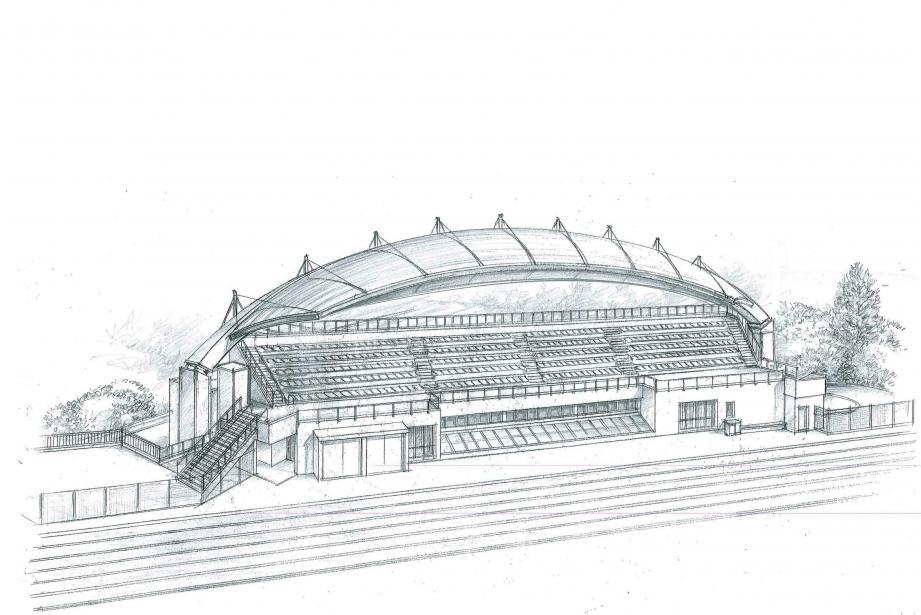 Un auvent résolument moderne, en arc de cercle, figurant nettement la moitié d'un ballon de rugby. Parmi les trois projets proposés à la municipalité, c'est celui ci-dessus qui a finalement été retenu. Le plus audacieux et original. Reconfigurées, les tribunes auront une capacité de 470 places assises, rouges et bleues... et enfin au sec.