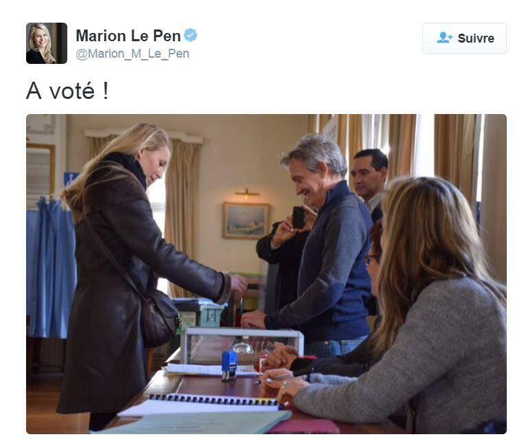 La tête de liste FN a voté aux régionales.