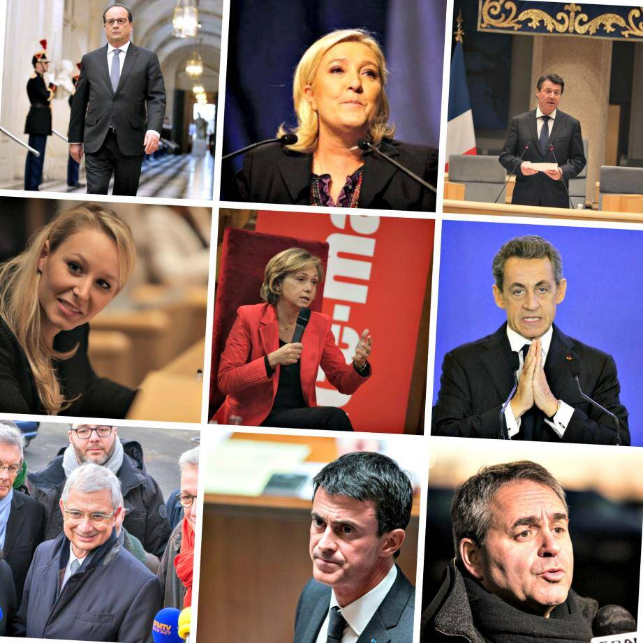 François Hollande, Marine Le Pen, Christian Estrosi, Marion Maréchal-Le Pen, Valérie Pécresse, Nicolas Sarkozy, Claude Bartolone, Manuel Valls et Xavier Bertrand.