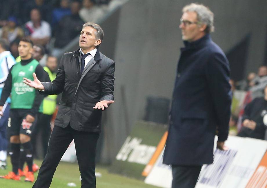 L'entraineur de l'OGC Nice, Claude Puel et Laurent Blanc.