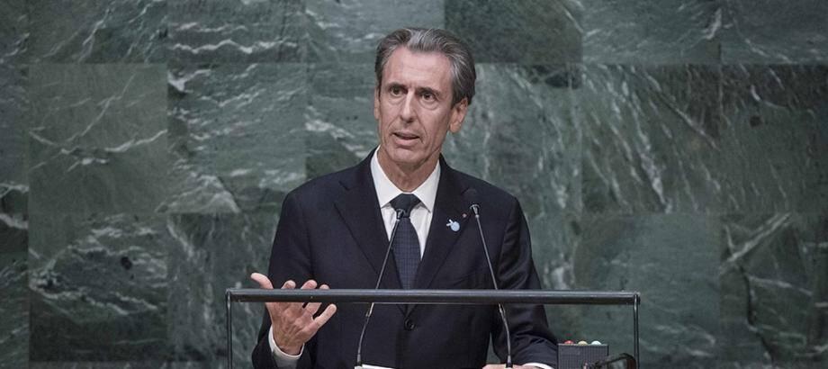 Gilles Tonelli, conseiller de gouvernement pour les Relations extérieures et la Coopération, à la tribune de l'ONU en octobre dernier