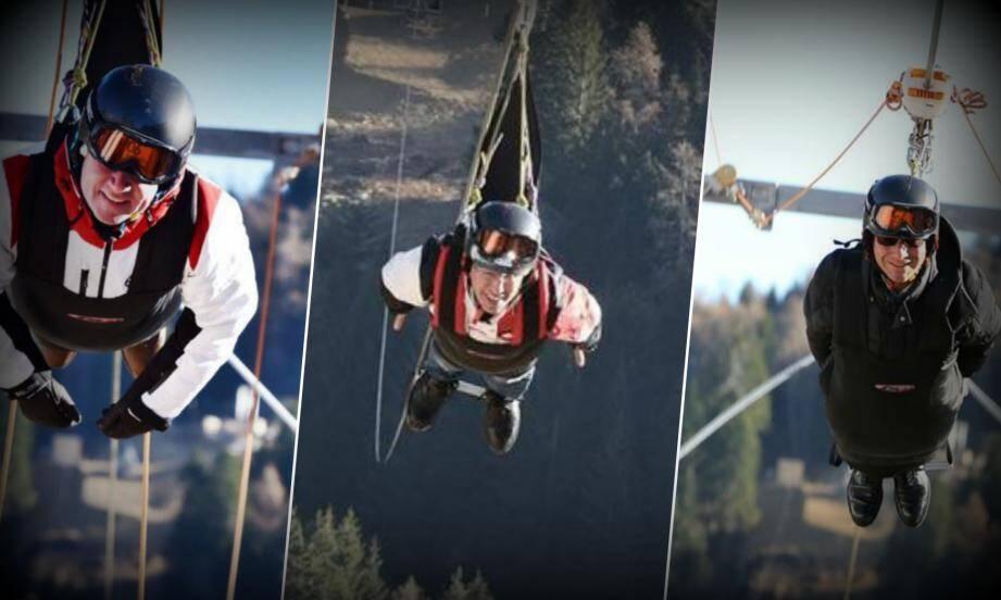 Quand Christian Estrosi, Eric Ciotti et David Lisnard testent la plus longue tyrolienne de France, inaugurée samedi matin à La Colmiane par la légende des sport extrêmes Taïg Khris