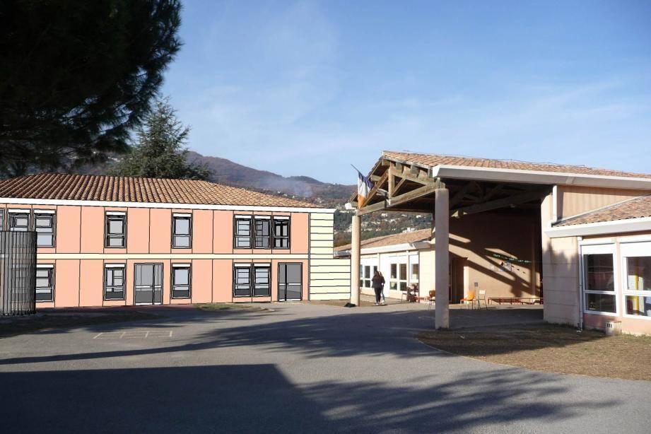 Parmi les chantiers du Sivom au programme de 2016, l'agrandissement de l'école maternelle de Saint-Martin-du-Var. L'opération comprend deux classes supplémentaires et une salle de motricité qui sera utilisée dans le cadre des nouvelles activités périscolaires et pour les activités d'accueil de loisirs. (Photomontage DR)