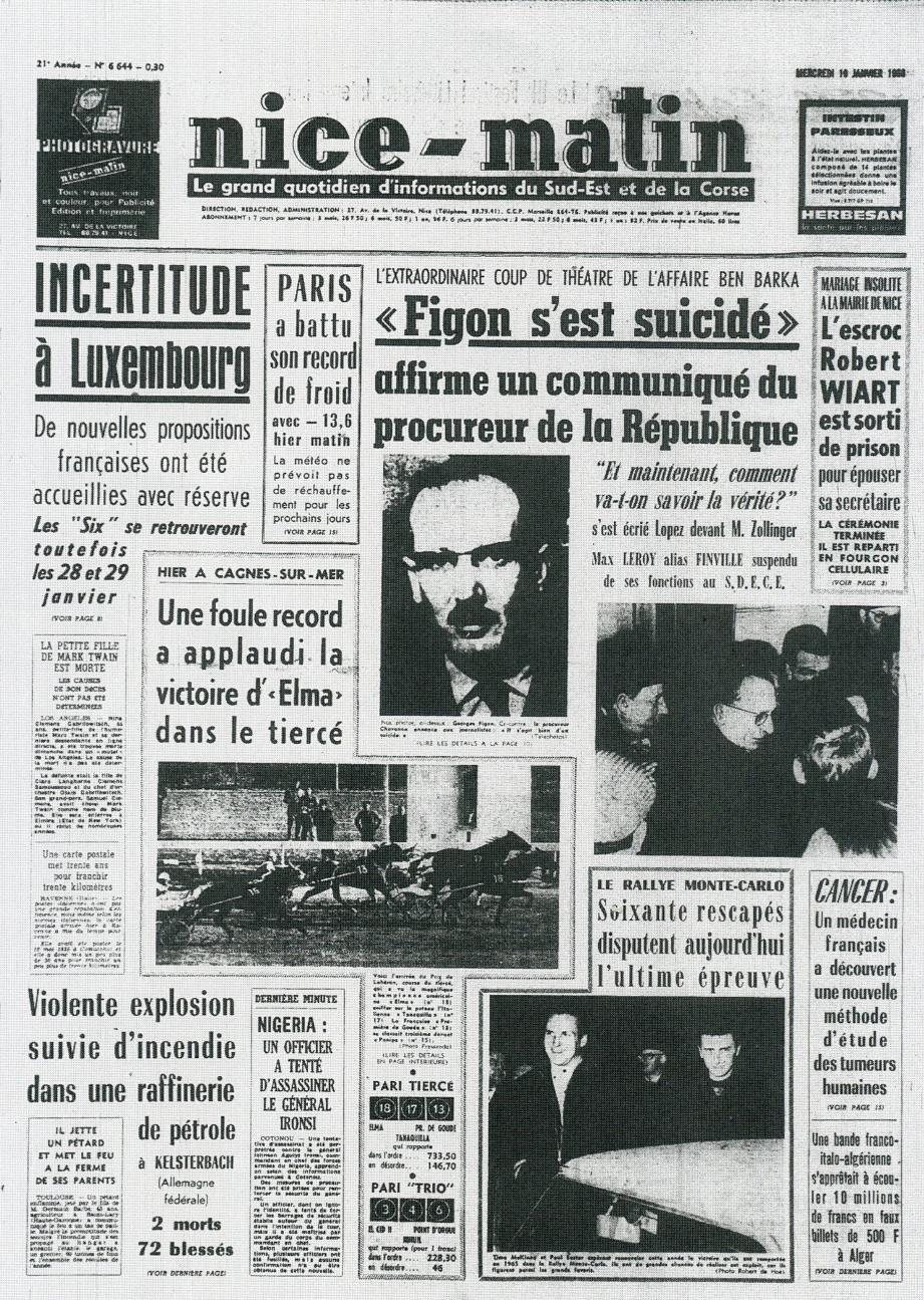 A la « Une » de Nice-Matin du 19 janvier 1966 : le rallye de Monte-Carlo dont « soixante rescapés» (sic) qui disputent la dernière épreuve.(Repro DR)