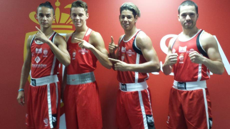 L'écurie des jeunes espoirs de l'ASM sera présente sur le ring avec, de gauche à droite, Idriss Barkat, Hugo Micallef, Lorenzo Fernandez et Abdelelah Karroum.