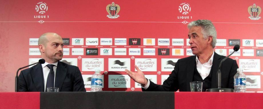 Jean-Pierre Rivère a officiellement présenté Edward Blackmore aux salariés et à la presse, hier à l'Allianz Riviera.