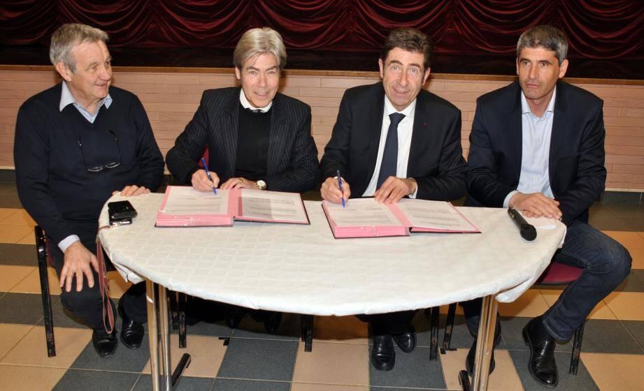 Les personnalités, de g. à dr. Roger Ciais 1er vice-président de la CCAA, Jean-Pierre Galvez, Charles-Ange Ginésy et Pierre Copporandy.