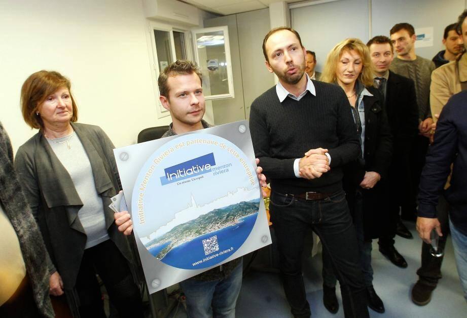 Mathieu Polidori et Cédrick Hérisson, de « Menton Initiative Riviera » ont présenté le label à tous leurs partenaires, lors de la galette des rois dans les locaux de la rue Henri-Gréville.