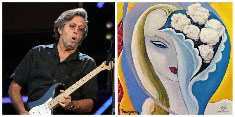 Clapton et le tableau danois qui a illustré un de ses albums.