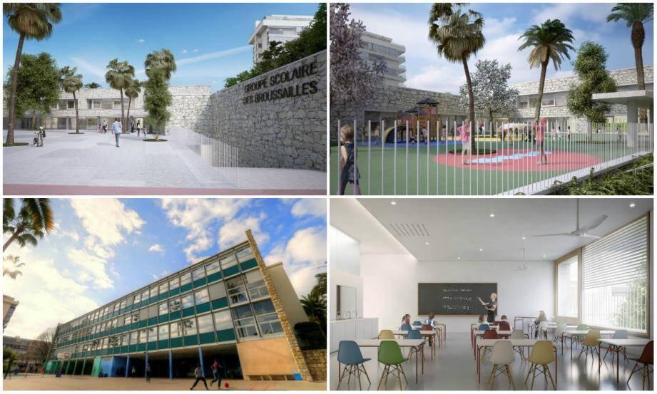 L'école des Broussailles telle qu'elle est aujourd'hui depuis 1965 et une salle de classe (en bas à droite) qui verra le jour à l'horizon 2018