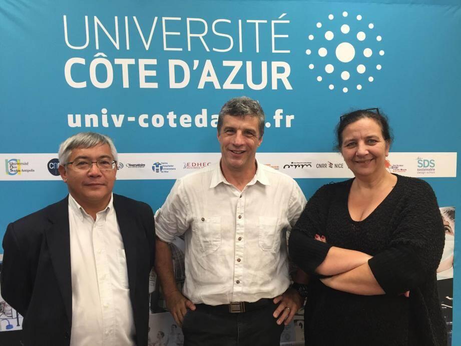 Une grande satisfaction pour Jean-Marc Gambaudo, le président de l'Université Côte d'Azur, Frédérique Vidal, la présidente de l'université de Nice, et Stéphane Ngô Maï, vice-président chargé de la stratégie et du développement.