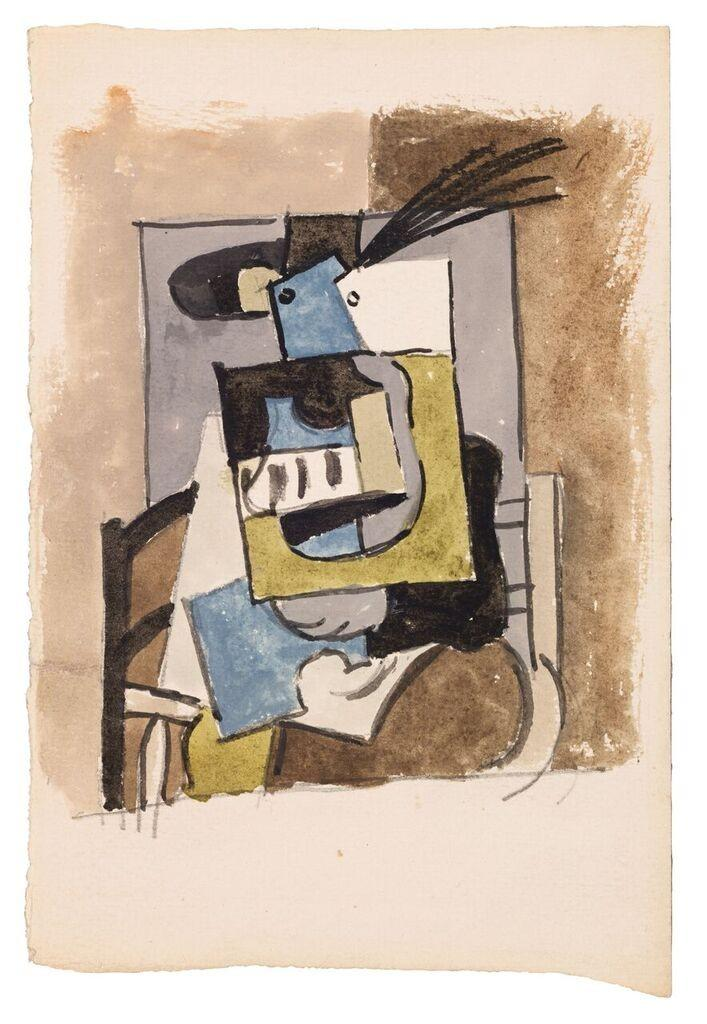 De gauche à droite et de bas en haut: Femme au chapeau à plumes (gouache sur papier, 302 689 euros), Trois visages (vase en céramique, 396 224 euros), Visage (plaque de bronze, 552 116 euros), palette de l'artiste (58 752 euros).(DR)