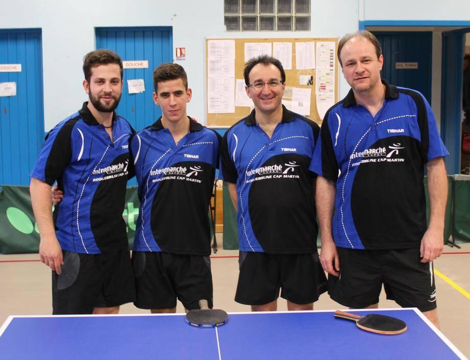 De gauche à droite, l'équipe de Régionale 1. Andréa Tortorino, Guillaume Karboroski, Jean-François Didier et Hervé Manfredi.(D.R.)
