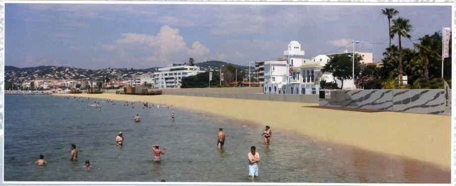 Moins de plagistes et des structures revisitées : voilà ce que sera le littoral du secteur Courbet-Lutetia après travaux.(Photo-montage ville d'Antibes)