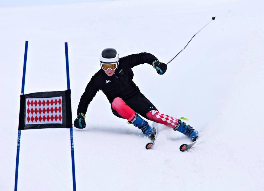 Paul Croesi (ici lors d'un entraînement) a tout lâché dans le slalom géant d'hier. Ce n'est pas passé pour le skieur monégasque qui est sorti dès la première manche.