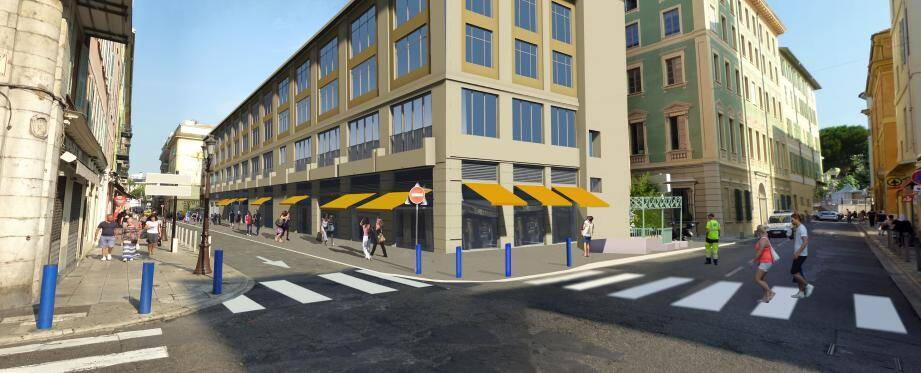 Ce dessin donne une idée assez précise de l'amélioration du bâtiment et de ses abords.(Document Ville de Nice)