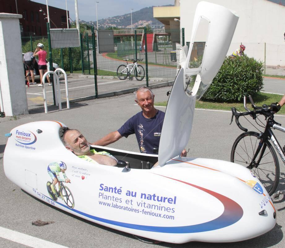 Christian Fenioux et Jean-Pierre Demenois sur la piste de La Bocca.