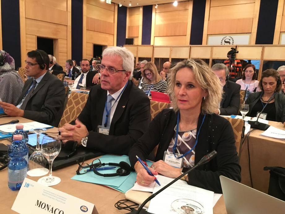 Nathalie Amoratti-Blanc et Alain Ficini à la 10e session plénière de l'Assemblée parlementaire de la Méditerranée qui s'est tenue à Tirana, en Albanie.(DR)