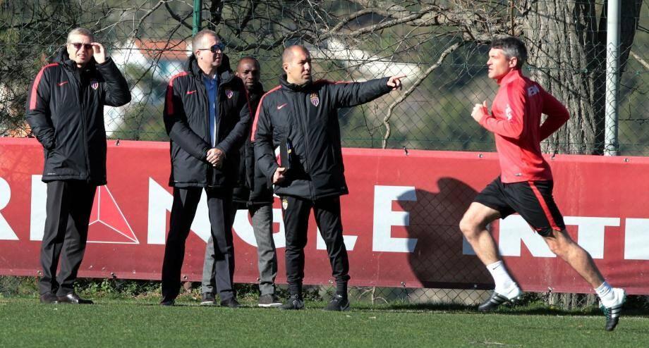 Les Monégasques à l'entraînement avec Dmitri Rybolovlev, président de l'AS Monaco.