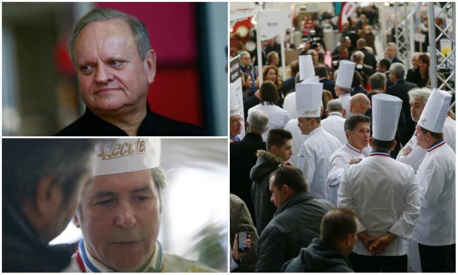 Hier à Nice, Joël Robuchon (en haut à gauche), bouleversé par la perte d'un ami, tout comme Fabrice Prochasson (en bas à gauche), président de l'académie culinaire de France.