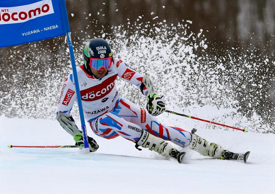 ©KIMIMASA MAYAMA/EPA/MAXPPP - epa05157690 Mathieu Faivre of France in action to place second in the men's giant slalom of the FIS World Cup Aline Skiing   in Yuzawa, Niigata Prefecture, northern Japan, 13 February 2016.  EPA/KIMIMASA MAYAMA JAPAN WORLD CUP ALPINE SKIING