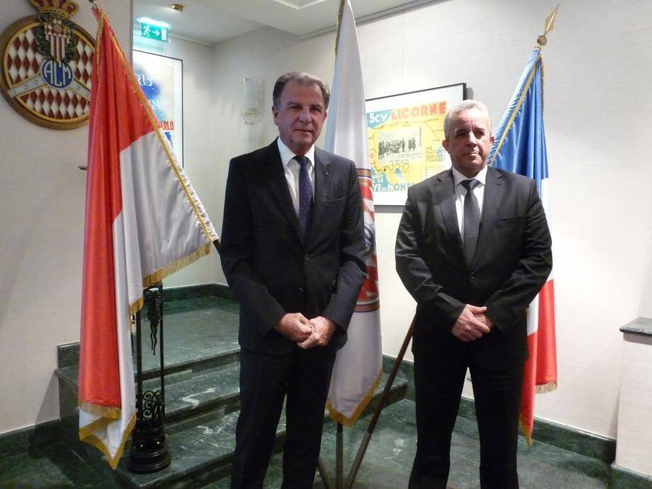 Michel Dotta, président du Monaco Economic Board, et Hector Igarza Cabrera, ambassadeur de Cuba à Monaco, hier à l'Automobile Club.