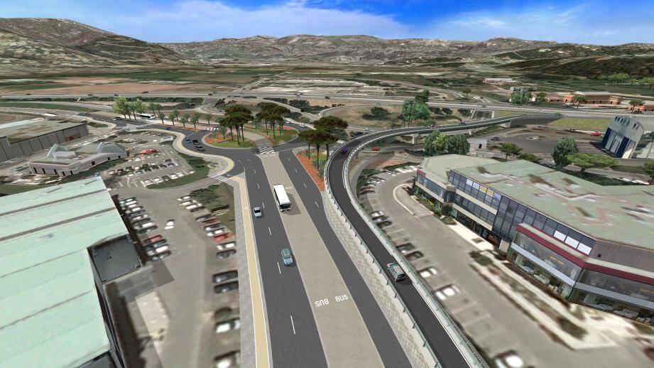 À droite de la route , le futur viaduc aérien de 140 mètres survolera les Tourrades.