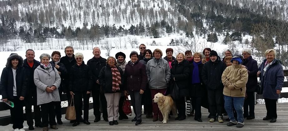 Les choristes lors de leur journée conviviale au centre de ski de fond de la Colle Saint Michel. (photo L.B)