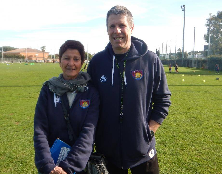Les présidents du Rugby club du Pays six-fournais Eliane Cayol et Christian Arnaud.