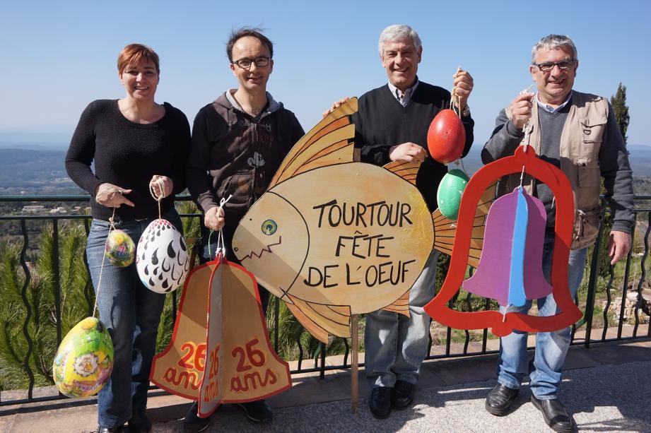 Denise Toussan, Tony Lecerf, Alain Ouaki et Gils Dall'Erta, les coordinateurs de la 26e édition de la Fête de l'œuf de Tourtour.