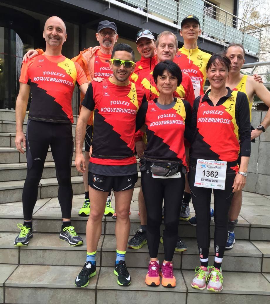 Les neuf coureurs des Foulées Roquebrunoises.