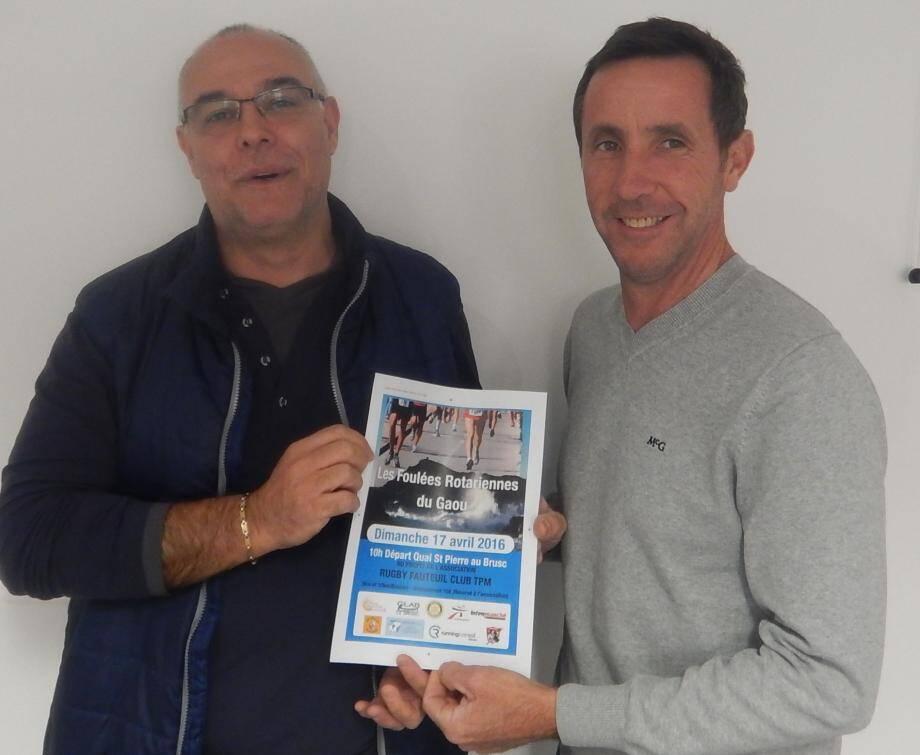 """Deuxième édition des """"Foulées Rotariennes du Gaou"""" avec, à gauche, Didier Castillo (président du Clab) et le Rotarien Christian Martino, à l'origine de cet événement caritatif."""