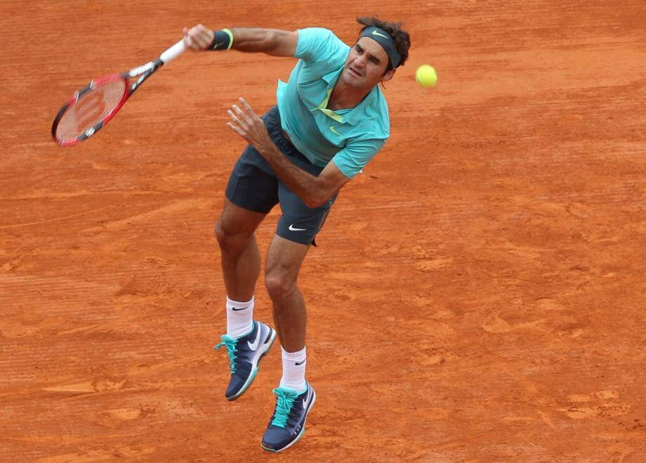 Roger Federer lors de la 1909 édition du Masters de tennis de Monte-Carlo en 2015.
