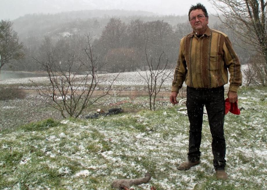 Robert Vitry, le propriétaire, montre ce qu'il reste de l'ânon né quelques heures plus tôt.