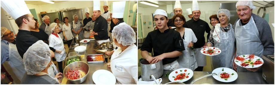 Le professeur de cuisine Laurent Ferry distille ses consignes aux binômes pour réussir des plats beaux et bons.
