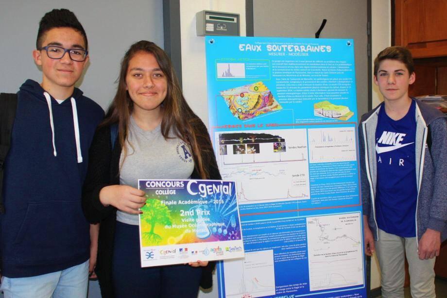 Le projet, soutenu à La Garde par Baptiste, Rozerin et Camille, a été distingué.