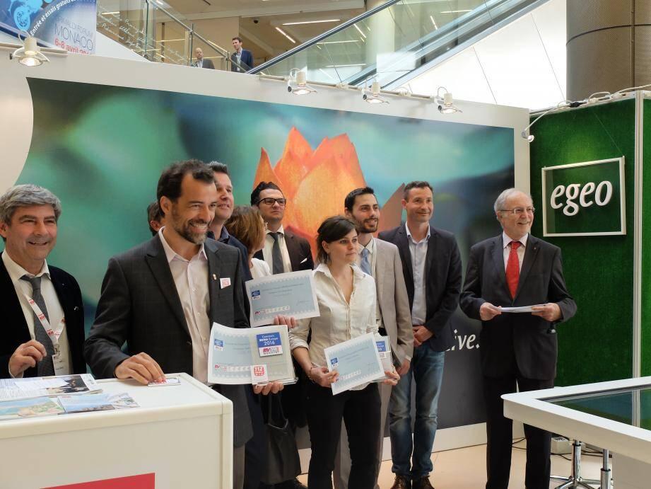 Pendant la remise des prix du concours Metha, hier après-midi au Grimaldi Forum.