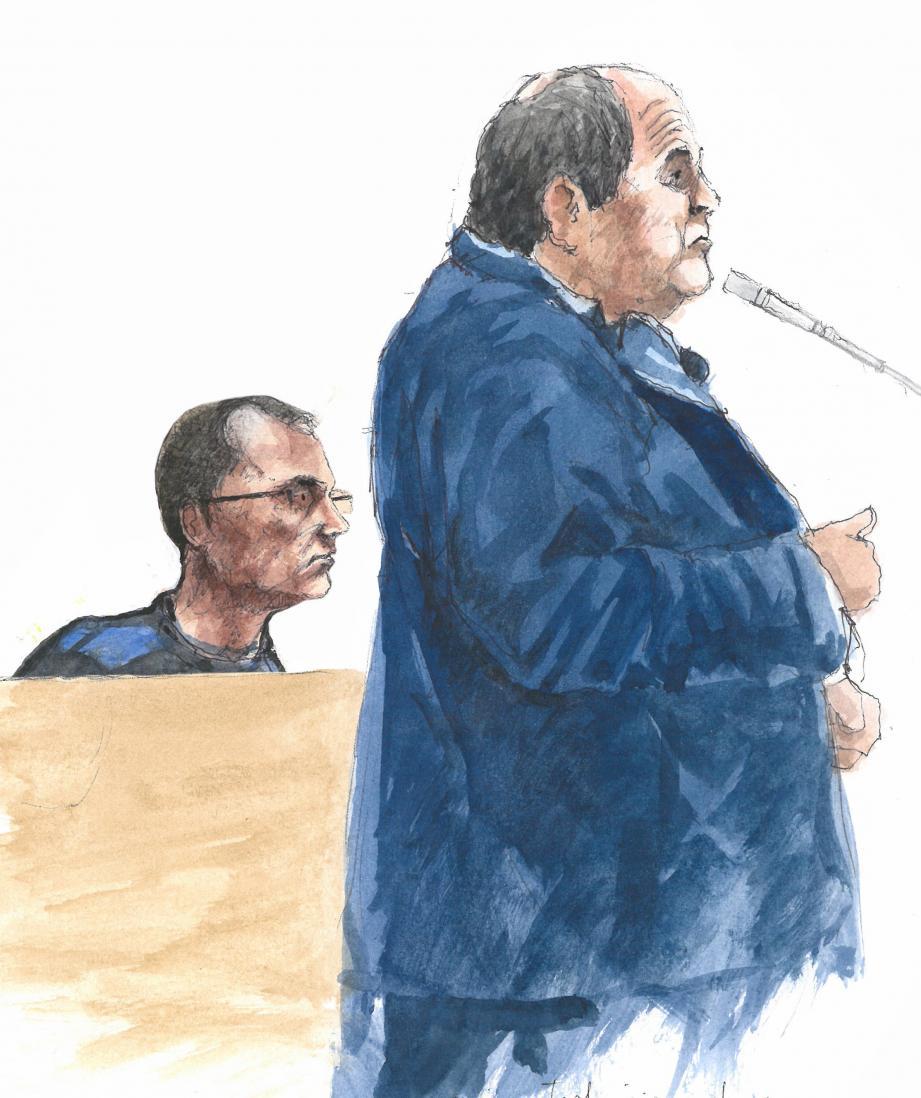 Franck Perletto (à gauche) a patiemment écouté les témoins qui ont déposé. (Illustration Rémi Kerfridin)