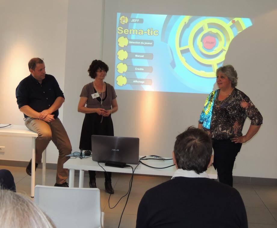 La présentation du logiciel a été l'occasion pour Jean-François Herbert, Nathalie Leca et Valérie Goujon de faire part des nombreux exemples de réussite constatés lors des tests effectués auprès des apprenants.