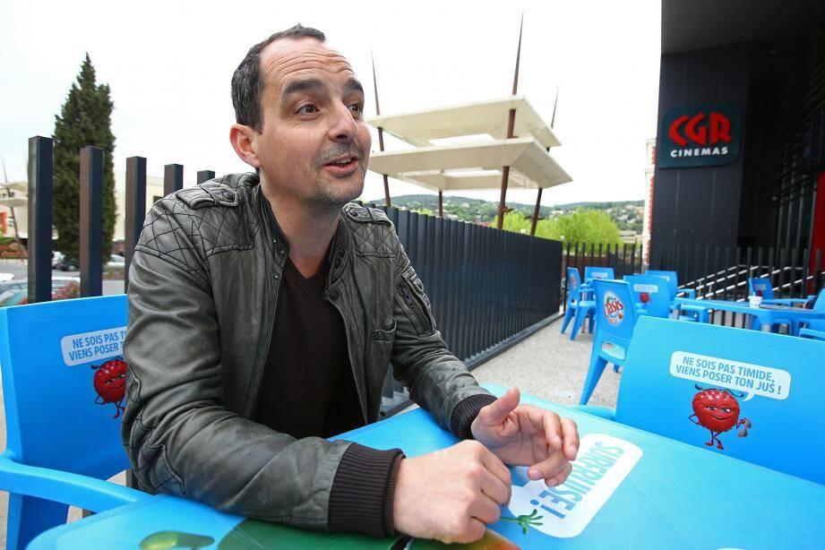 Sylvain Desclous lors de sa venue au cinéma CGR.