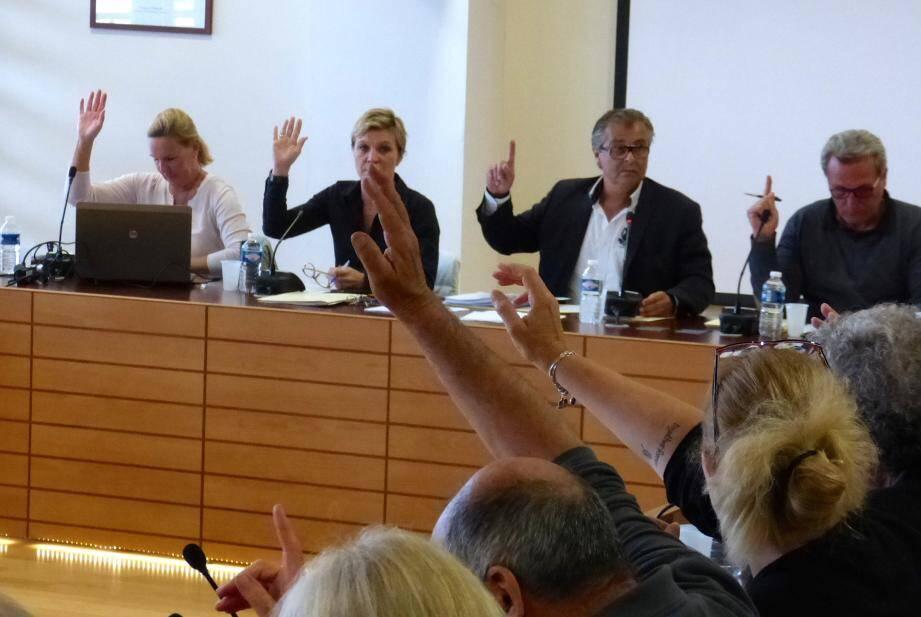 Les élus ont levé majoritairement la main pour approuver l'ensemble des délibérations.