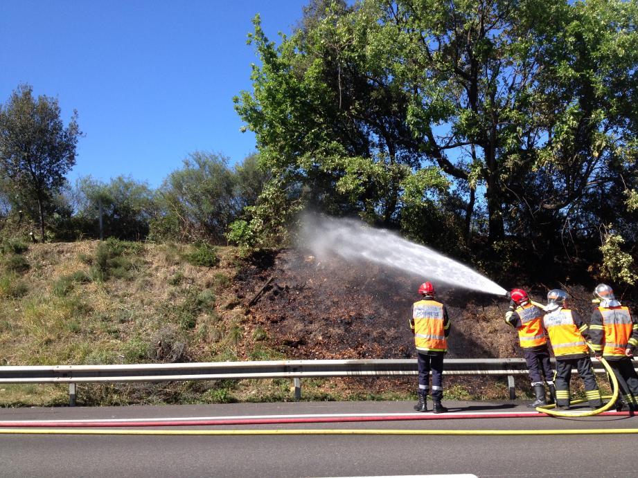 Les pompiers lors de l'intervention.